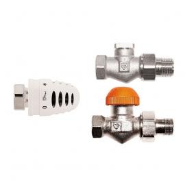 Zestaw termostatyczny Herz – głowica + zawory proste 1/2″